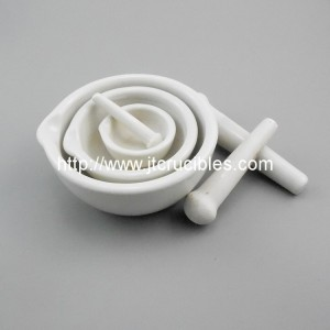 high quality laboratory use Glazed Porcelain Mortar and Pestle with Pouring Lip